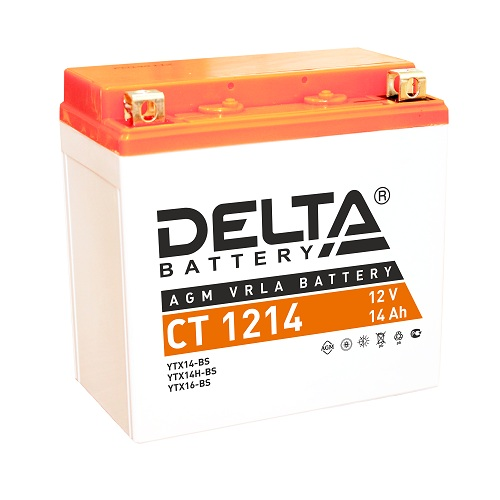 Мото-аккумулятор Delta CT 1214 YTX14-BS, YTX14H-BS, YTX16-BS, YB16B-A