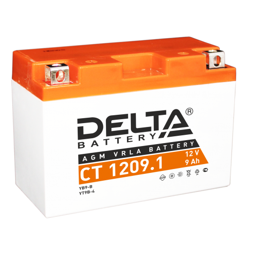 Мото-аккумулятор Delta CT 1209.1 YT9B-BS