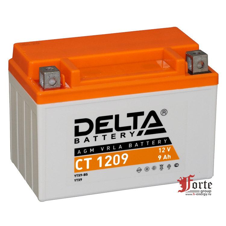 Мото-аккумулятор Delta CT 1209 YTX9-BS, YTX9
