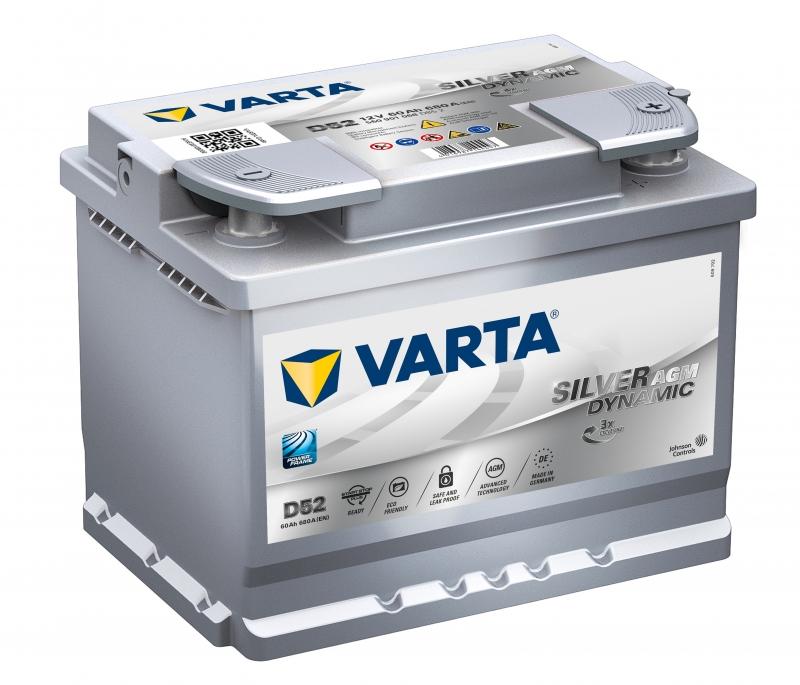 Аккумулятор VARTA AGM SILVER DYNAMIC-60, Обратная полярность