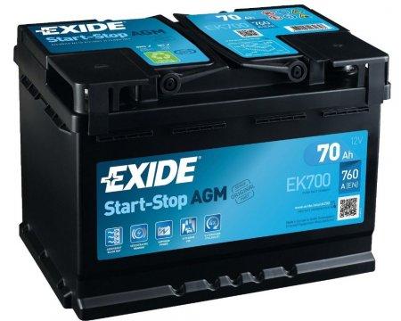 Аккумулятор EXIDE START-STOP AGM-70, Обратная полярность
