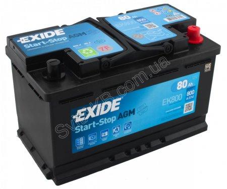 Аккумулятор EXIDE START-STOP AGM-80, Обратная полярность