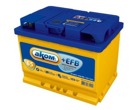 Аккумулятор АКОМ EFB-65, Прямая полярность